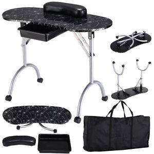 Black manicure nail table portable station desk spa beauty for Fold up nail table