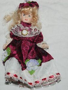 Vintage Mini Porcelain Doll Victorian Maroon Lace White Dress Hat