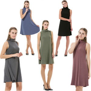 Womens-Ladies-Dress-Sleeveless-Swing-Dress-Skater-Midi-Dress-Knee-Length-Summer