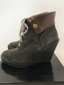 70aa37e91e7 Image is loading Colin-Stuart-Wedge-Bootie-Charcoal-Size-9