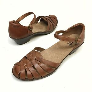 CLARKS-Bendables-Brown-Leather-Ankle-Strap-Heels-Sandals-Shoe-Women-s-Sz-8-M