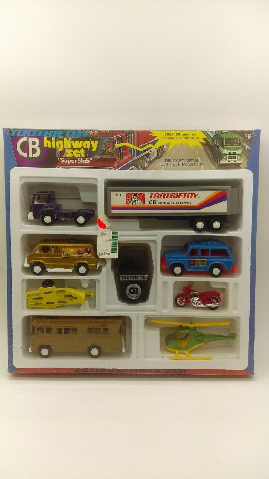 Jahr 1977 TootsieSpielzeug Tootsie Spielzeug Trucker CB hochway Set Super Slab MIB RARE