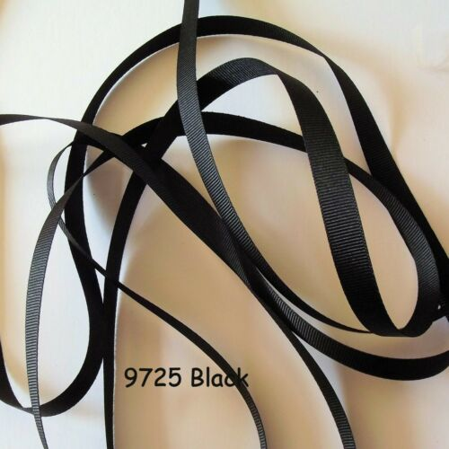 Berisfords Ribbon Black 9725 R41025 Various widths Grosgrain Ribbon