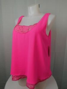 0054ec472e3 Rachel Roy Plus Size Sleeveless Layered Look Lace Tank Top 1X Neon ...