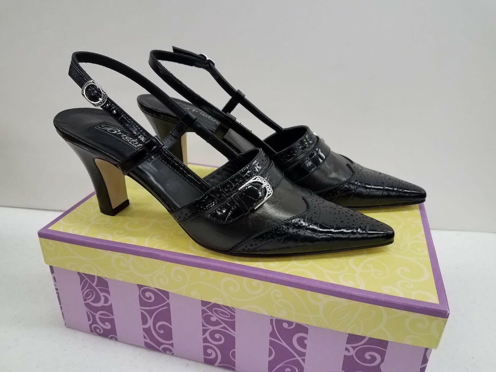 Brighton Mersey Black Croc Brush Leather Madras w/ Silver Buckles Sz 8M $190
