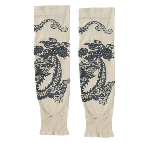 Arm Cuff Sleeve Chinese Dragon Pattern Sunscreen Anti UV Long Fingerless Glove Q