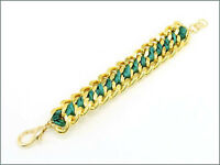 Gold Toned And Green Chain Link Bracelet