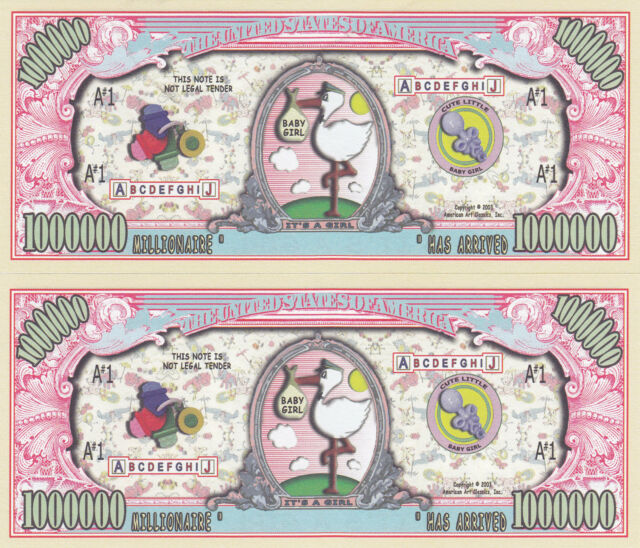 IT/'S A BOY Birth Announcement Keepsake Baby Gift Legal Tender Colorized $2 Bill