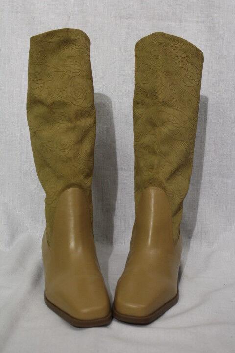 NWOB MARKON Brown Leather Suela Suela Suela Mid Calf Boots,Floral Pattern Sz 10W Brazil-B83 553288