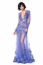 $868 NWT Tadashi Shoji Niwa Floral Sheer Gown Dress Magnolia Size 2 XS