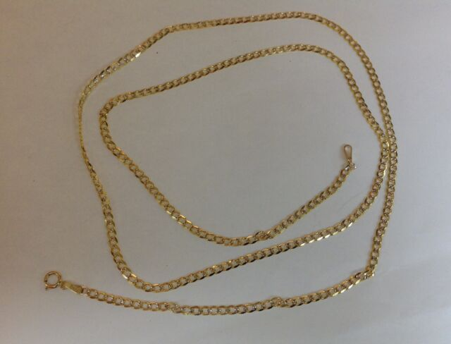 "10K SOLID YELLOW GOLD MEN'S WOMEN'S 2MM-4MM D/C CUBAN LINK CHAIN NECKLACE14""-36"""