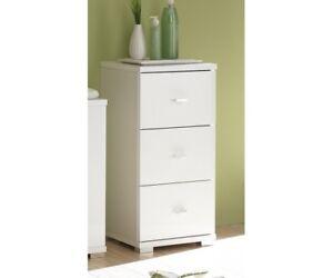 Unterschrank seitenschrank badezimmerschrank kommode mit 3 schubladen weiss ebay for Unterschrank mit schubladen