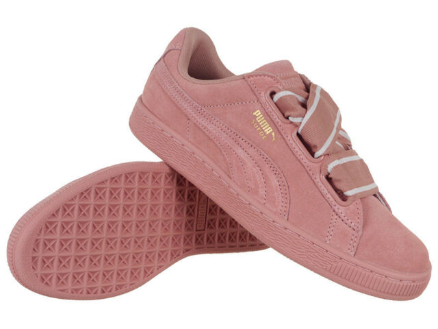 newest 30b18 34bbc Women's Puma Suede Heart Satin II WN's Shoes Leather Sneakers Pink Trainers
