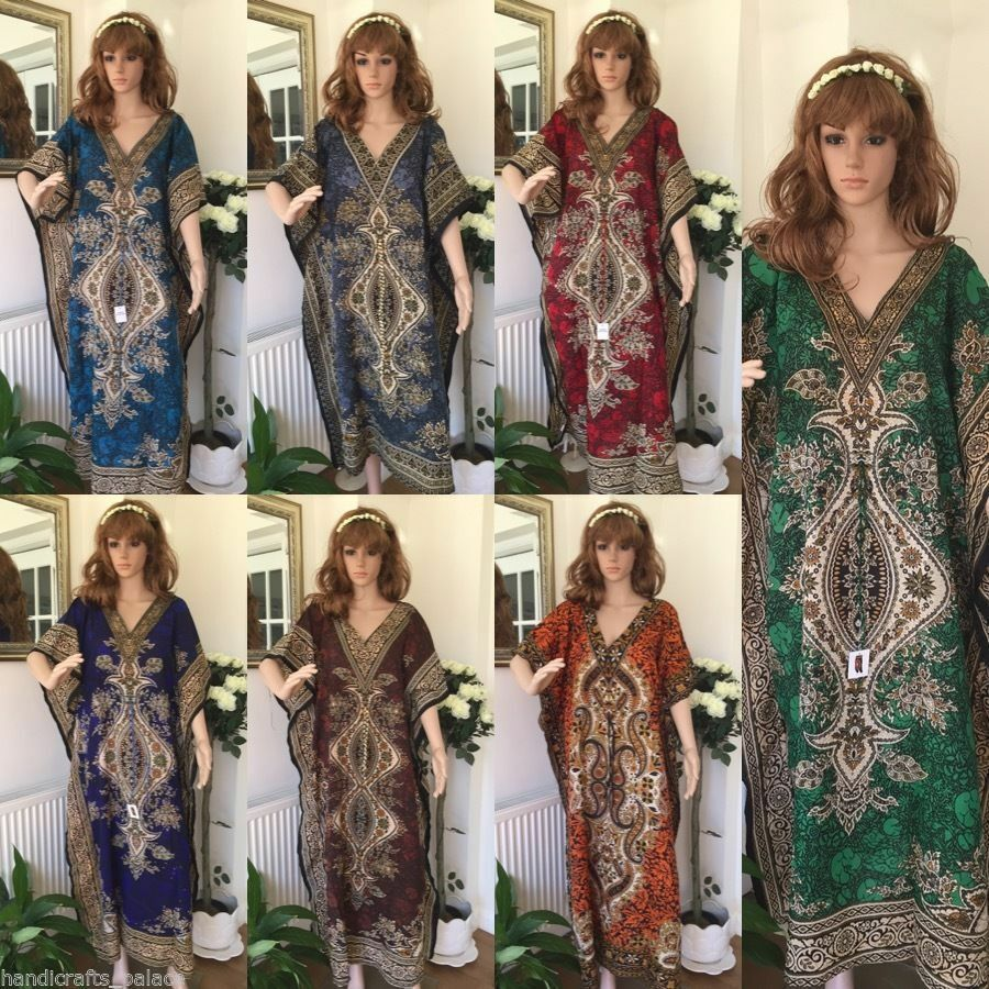 65  Pcs Long Kaftan Wholesale Lot Women One Size Maxi Dress Beach Caftan Poncho