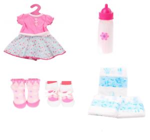 Abito Ragazze Bambola suoni BOTTIGLIA Calzini e NAPPYS Set Baby Doll Clothes Accessori