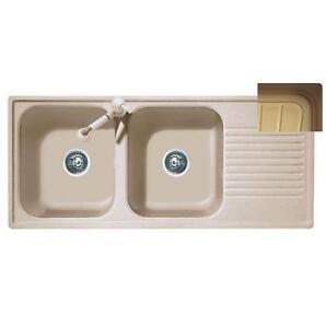 lavello telma 2 vasche con gocciolatoio cm116x50 colore terra di francia