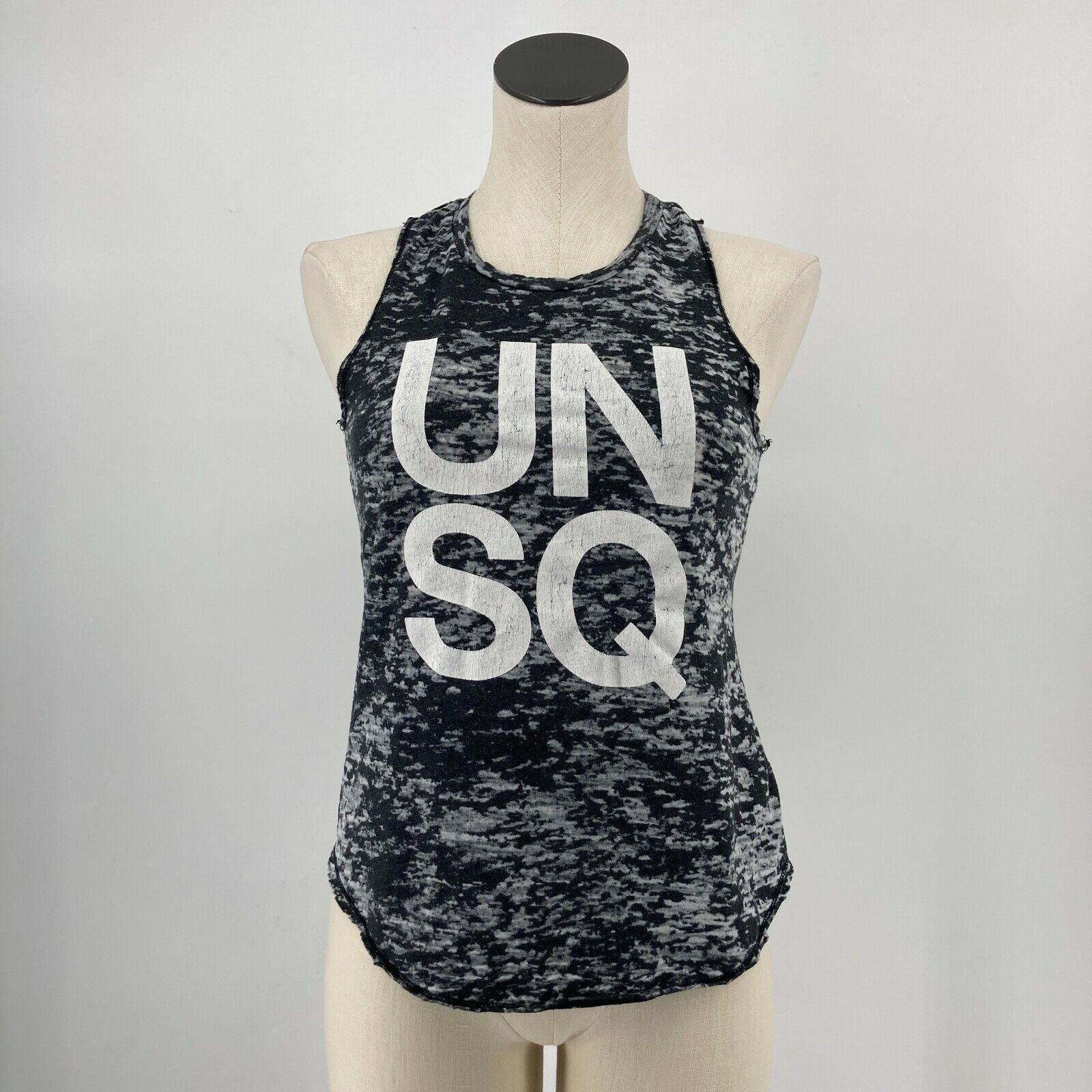 SoulCycle Womens Top Sleeveless Tank UNSQ Distressed Burnout Gray Size Small