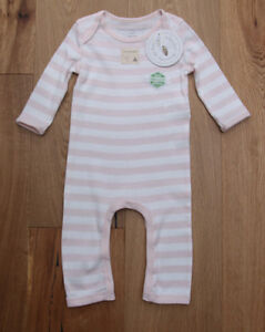 af9534f70b51 Burt s Bees Baby Girl Non Footed Coverall ~ Pale Pink   White ...
