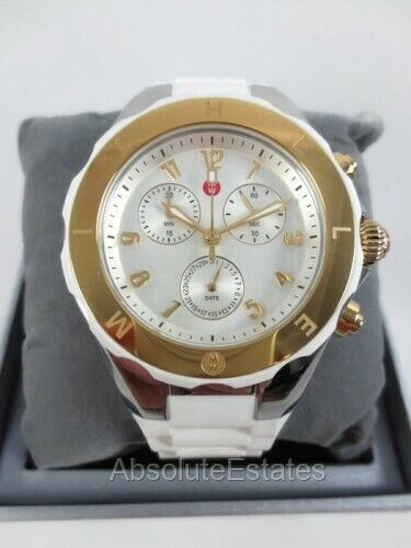 20a9646cc MICHELE Tahitian Jelly Bean Large Watch MWW12F000056 White Two Tone 40 Mm  for sale online | eBay