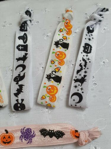 6 HALLOWEEN HAIR TIES WRISTBANDS BRACELETS SPOOKY TRICK OR TREAT PARTY FAVORS