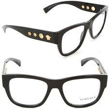Versace VE 3230 GB1 Square Eyeglasses Black/Demo Lens 52mm