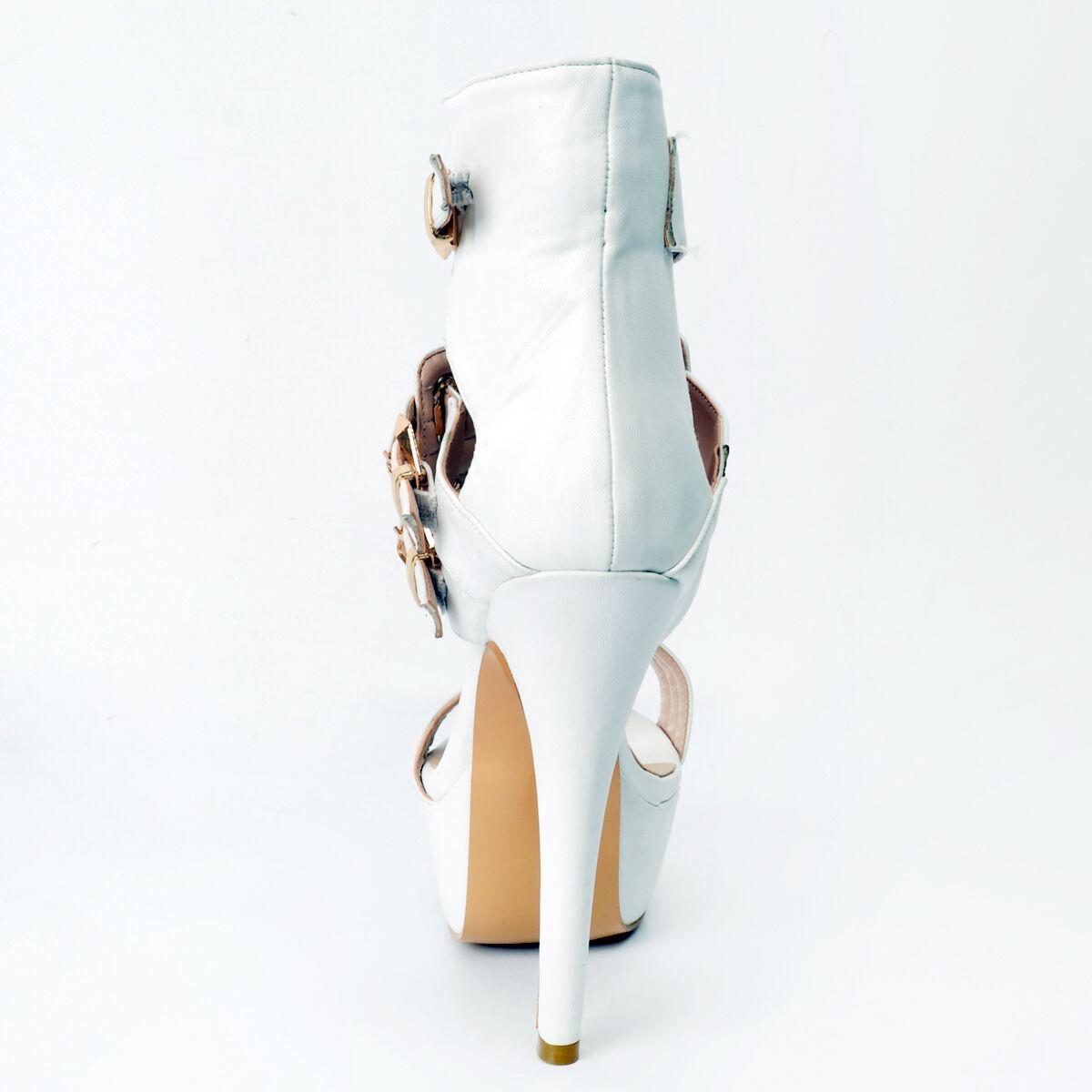 High Heels Damenschuhe Pumps Stiletto Absatz 2017 Riemen Schnalle Plateau Weiß