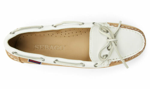 Sebago Nina Suede Leather Womens Moccasin 71113QW//A2A Beige//White NEW