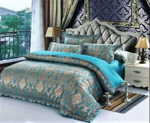 Luxury 5pc Turquoise Blue Embroidered Queen King Satin Cotton Duvet