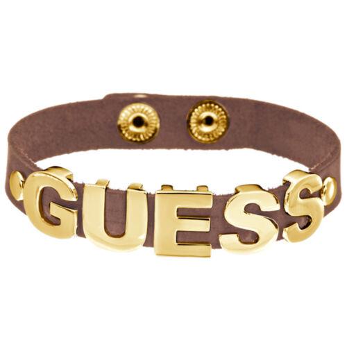 GUESS Damen Armband Schmuck Leder Metall Braun Gold UBB81311 TOP