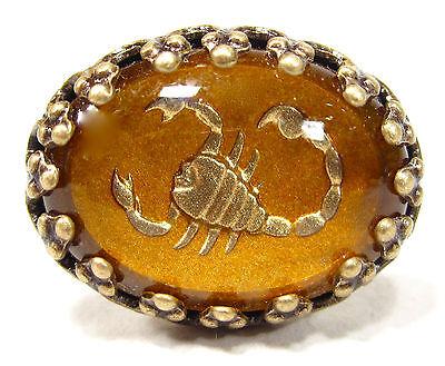 SoHo Ring altgold bronze bohemia Skorpion Sternzeichen handgemachtes Glas 50er