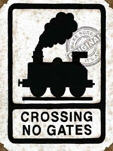 Details about LEVEL CROSSING NO GATES TRAIN STEAM ENGINE MODEL RAILWAY  LAYOUT METAL WALL SIGN