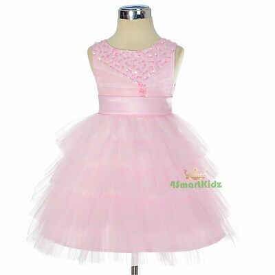 Pink Beaded Satin Tulle Formal Dress Wedding Flower Girl Party Size 00-3 FG292