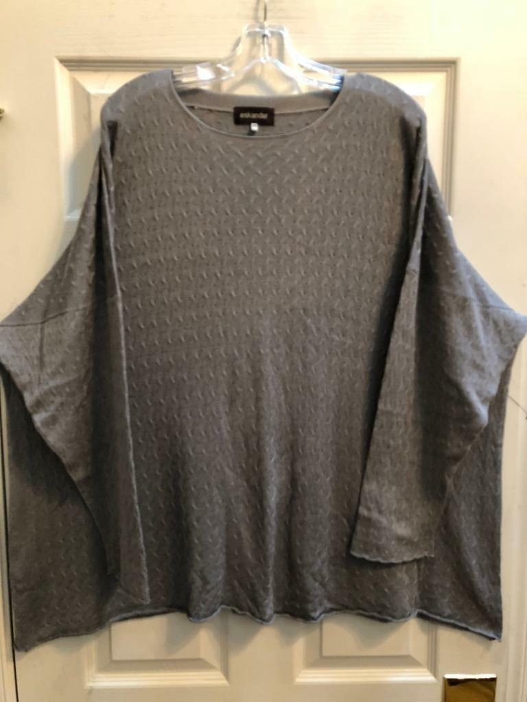 Eskandar O S 1x 2x Handknit Grey Grey Grey Shadow Cable Silk  Tunic Sweater  1375 cc6a92