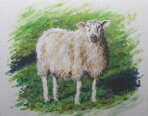 Sheep-farm-countryside-Wales-England-shepherd-animal-original-acrylic-painting