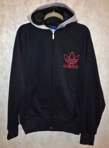 78f1834c9675 ADIDAS Letterman Jacket Black Grey Red Full Zip Sweatshirt Hoodie ...