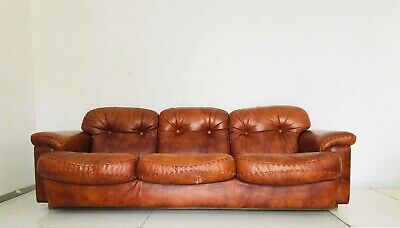 Divano In Pelle Con Recliner.3 Seater Sofa Sofa Brown Leather Design Years 70 New Collectables