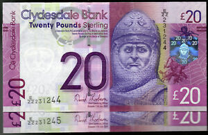 real 2009 Clydesdale Bank £20 Twenty Pound UNC Scottish replacement ZZ banknotes