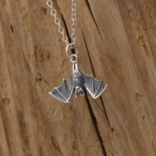Sterling Silver Hanging Bat Realistic Pendant Charm Necklace Gothic Halloween