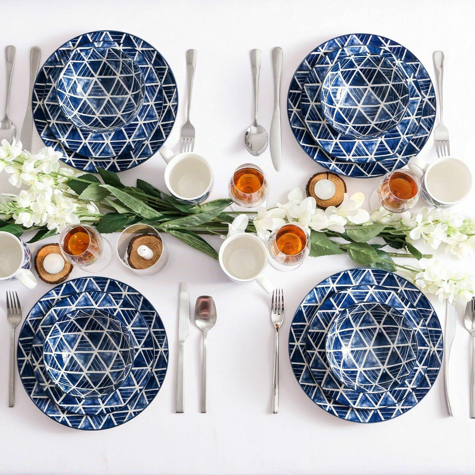 16 pezzi Set Cena porcellana piatti ciotole stoviglie stoviglie hand painted blu