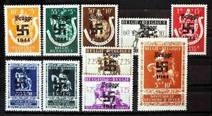 BELGIUM-B332-B341-BRUGGE-OVERPRINT-OG-NH-U-M-VF-BEAUTIFUL-GUM