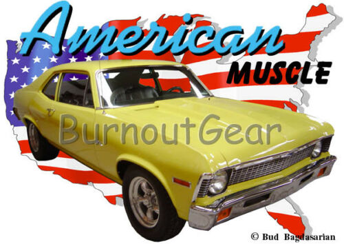 1970 Jaune CHEVROLET Nova Custom Hot Rod USA T-Shirt 70 Muscle Car T-shirts
