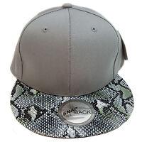 Snake Skin Plain (grey) Cotton Snapback Cap
