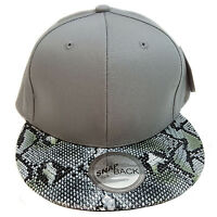 Snake Skin Plain (grey) Cotton Snapback Cap
