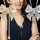 Luxury Crystal Bowknot Pendant Long Necklace Rhinestone Butterfly Fashion Chain