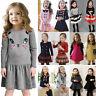 Toddler Kids Girls Long Sleeve Dress Preppy Skater Pleated Skirts Party Princess