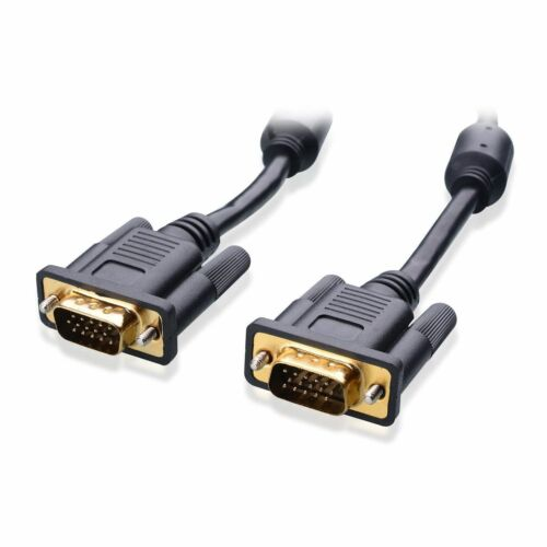 25FT 15 PIN GOLD PLATED BLACK SVGA VGA ADAPTER Monitor Male Cable CORD FOR PC TV
