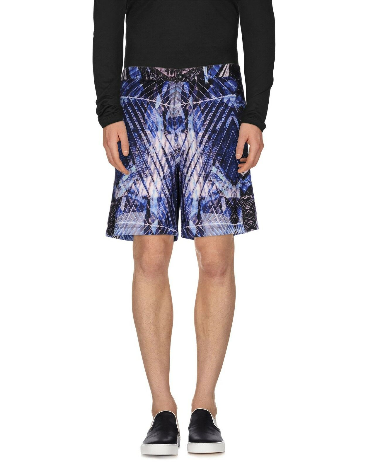 JUST CAVALLI Mens bluee Printed Poplin Cotton Bermuda Shorts UK32 IT48 W32 NEW