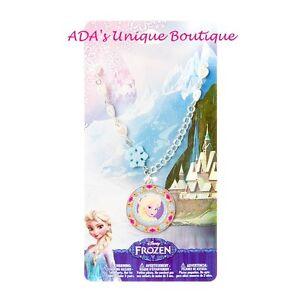 Disney Princess Frozen Elsa Pendant Necklace Sparkly Snowflakes Hearts NWT