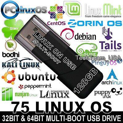 32 in 1 Multiboot Linux 64GB Live USB Ubuntu Mint Fedora Zorin Arch Tails Kali