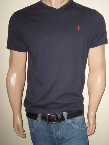 Polo Ralph Lauren Mens Size XL T-shirt V Neck Short Sleeve Navy Blue for  sale online  ff53ad6f7778